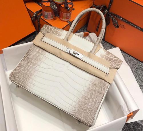 Hermes Matte Himalayan Prosperous  crocodile  Birkin bag with 18-karat white gold and diamond