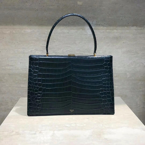 Celine MEDIUM CLASP BAG IN CROCODILE BLACK