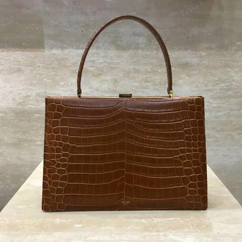 Celine MEDIUM CLASP BAG IN CROCODILE CAMEL