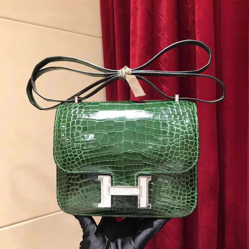 Hermes 1L Cacti Green Crocodile Shiny Leather  Constance 18 Bag with 18-karat white gold and diamond