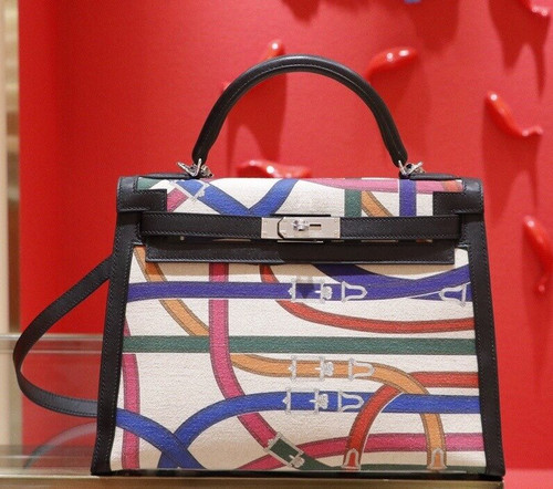 "Hermes Kelly Bag 32cm Limited Edition ""Cavalcadour"" Palladium Hardware"