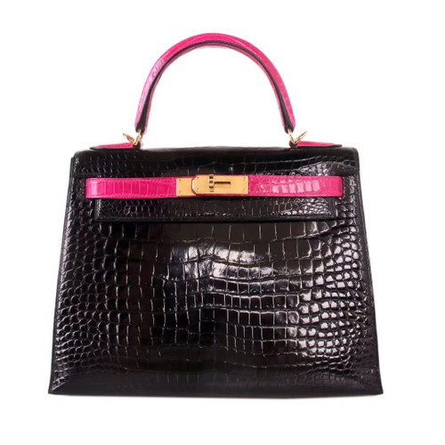 Hermes SHINY BLACK/ 5J Peach Pink NILOTICUS CROCODILE KELLY 28 WITH GOLD HARDWARE