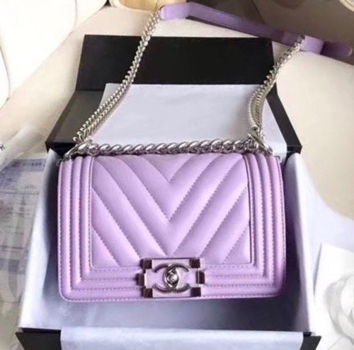 c0f05d12aa92 Chanel 2018 Small BOY CHANEL Handbag Lavender - Bella Vita Moda