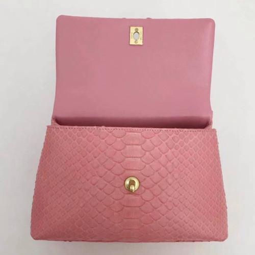 6e0d14bda1a6 Chanel Small Pink Python Flap Bag With Top Handle - Bella Vita Moda