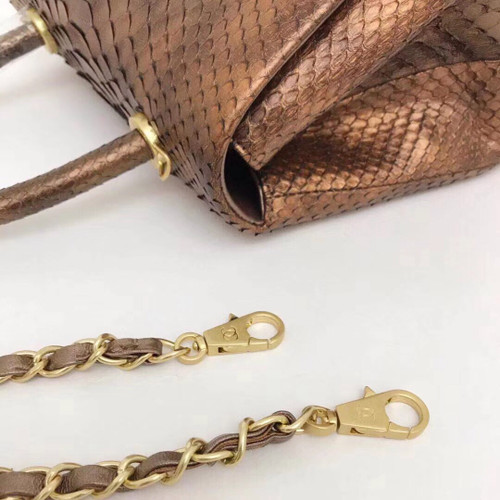 00f309eb114c Chanel Small Gold Python Flap Bag With Top Handle - Bella Vita Moda