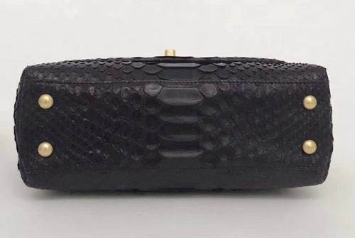 456620fdeb02 Chanel Small Black Python Flap Bag With Top Handle - Bella Vita Moda