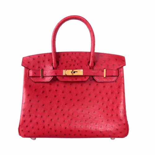 Hermes Rouge Vip  Birkin Bag 25cm KK Ostrich Leather Gold Hardware
