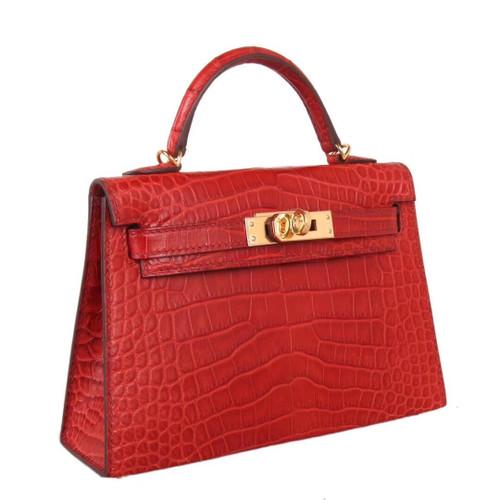 Hermès Mini Kelly  D5 Géranuim Crocodile Bag Gold Hardware