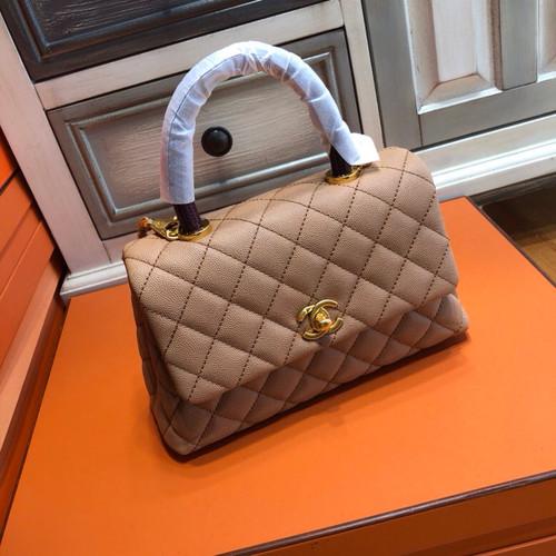 Chanel Nude Calfskin/Lizard Coco Handle Bag
