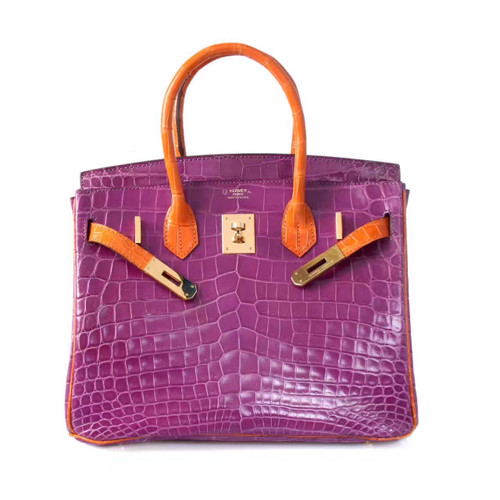 Hermes Special Order Violette/Orange Birkin 25 in Porosus  Crocodile with Gold hardware