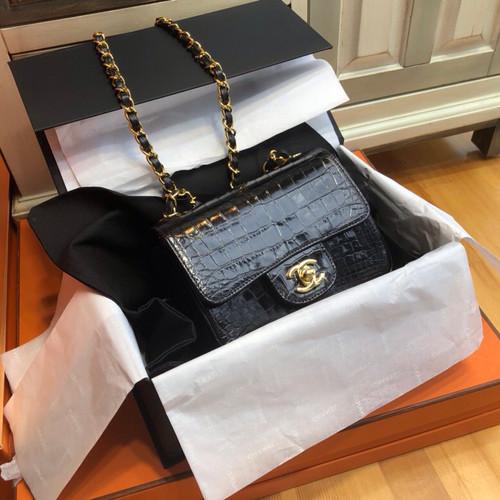 Chanel Alligator Mini Classic Flap Bag Black