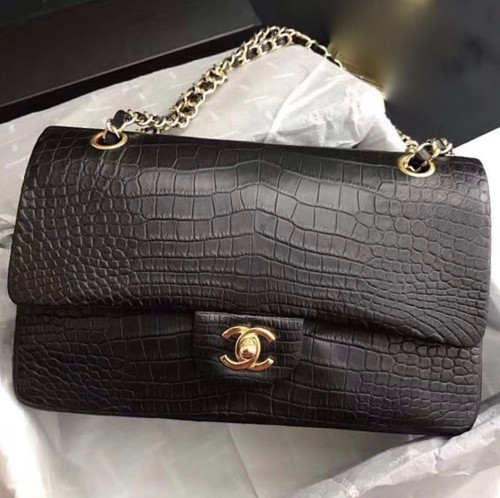 Chanel Black Matte Alligator Classic Flap Bag