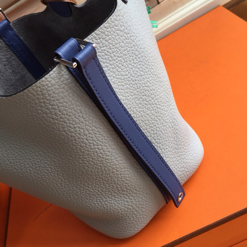 ... Hermes Pearl Grey  Blue Saphir Picotin Lock MM Togo Leather Bag ... 8c8cff8e68f86