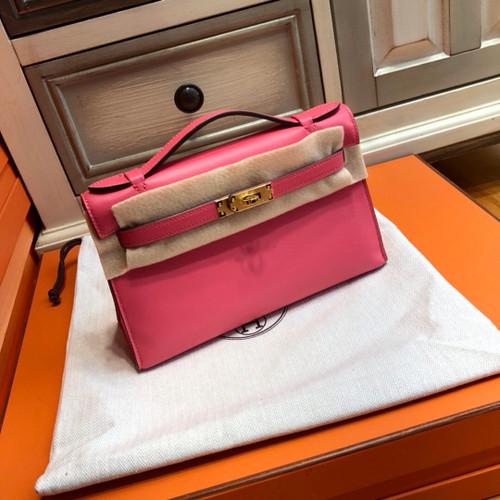 Hermès  8W Rose Azalee Mini Kelly Pochette Swift leather Gold hardware