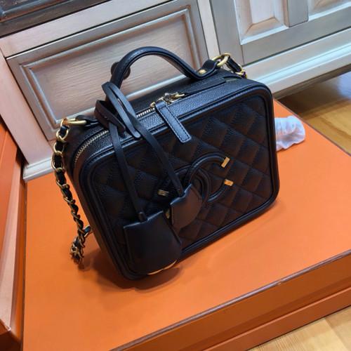CHANEL CC FILIGREE VANITY CASE BAG Medium Black