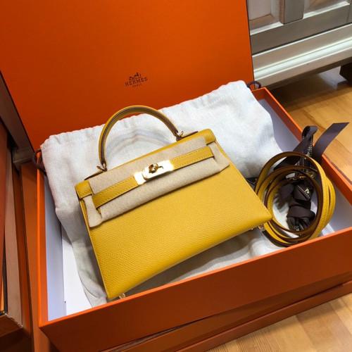 Hermès  9D Amber Mini Kelly II Epsom leather Palladium hardware