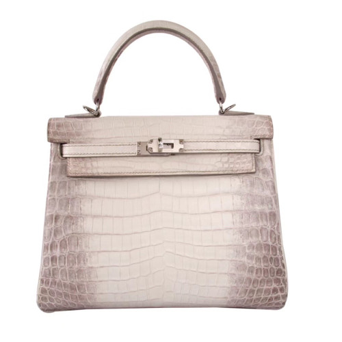 Hermes Kelly Bag 25 cm Matte Himalaya Nilo Crocodile Retourne with Palladium Hardware