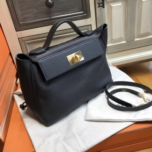 Hermes Kelly 24/24 Black Swift & Togo Leather with Gold Hardware