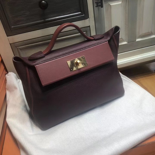 Hermes Kelly 24/24  Bordeaux & Rouge  Swift & Togo Leather with Gold Hardware