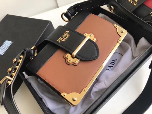 Prada 2019 Cahier leather shoulder bag Brown