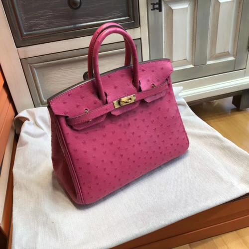 Hermes L3 Rose pourpre  Birkin Bag 25cm KK Ostrich Leather Gold Hardware