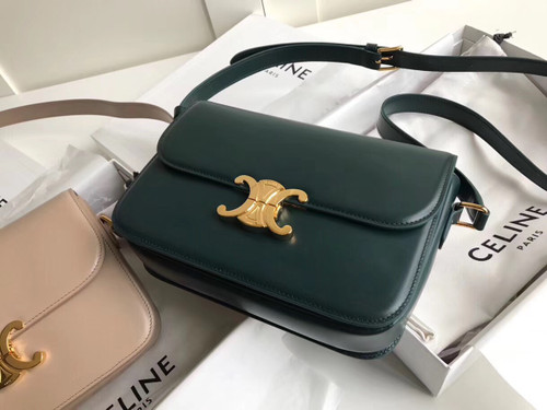 Celine MEDIUM TRIOMPHE BAG IN SHINY CALFSKIN GREEN