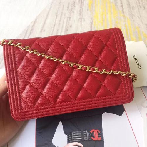 81399959c84d7c CHANEL BOY CHANEL Wallet On Chain RED - Bella Vita Moda