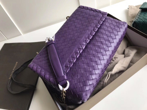 Bottega Beneta SMALL OLIMPIA BAG IN INTRECCIATO NAPPA Purple