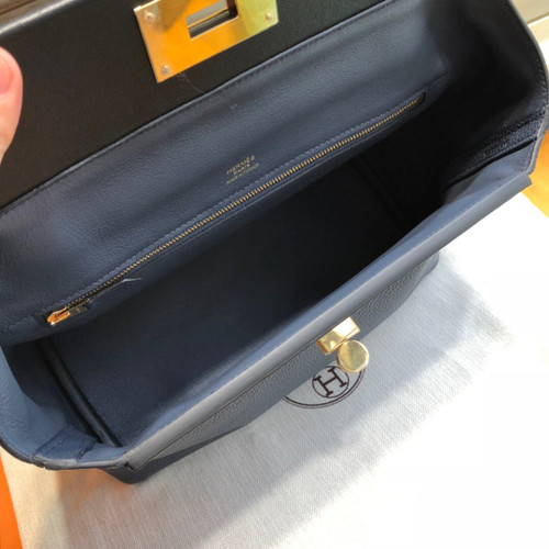 Hermes Kelly 24/24  Black/Navy Blue Swift & Togo Leather with Gold Hardware