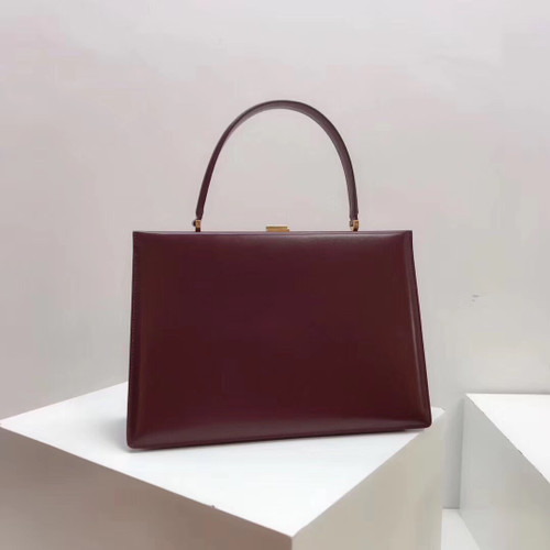 Celine MEDIUM CLASP BAG IN BORDEAUX BOX CALFSKIN WITH PATINA