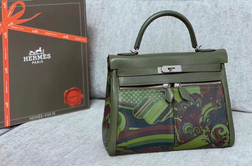 Hermès Kelly Lakis 32 Veau Swift V6 Canopee  Palladium Hardware by BellaVitaModa Personalization