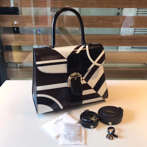 Delvaux Brillant MM Leather Satchel with Black & White geometric pattern