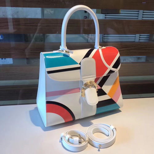 Delvaux Brillant MM Leather Satchel with  geometric pattern