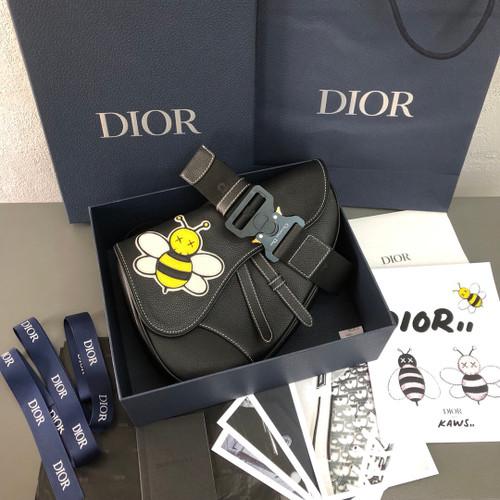 Christian Dior BLACK CALFSKIN DIOR X KAWS SADDLE BAG