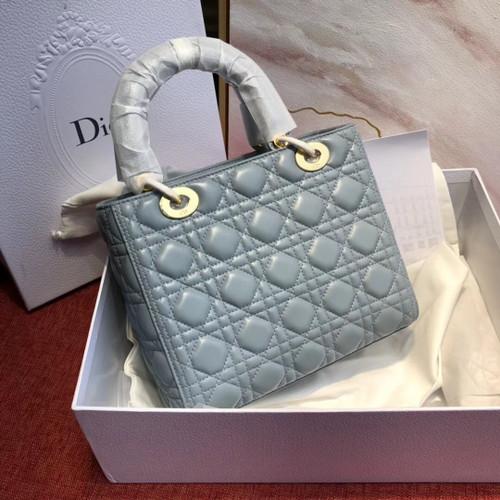 64be603e11 Christian Dior LADY DIOR LAMBSKIN TOTE BAG Light Blue - Bella Vita Moda