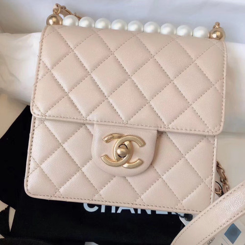 Chanel Limited Edition Pearl Flap Bag 2019 Pink