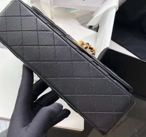 Chanel Black Leather Medium Classic 18K Gold Charms Double Flap Bag
