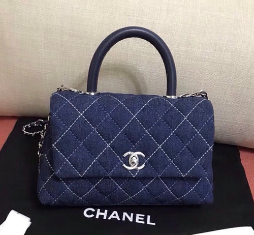 Chanel Small Denim Flap Bag With Top Handle