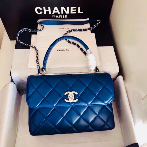 52cd96249190 Chanel Small Trendy CC Top Handle Bag Quilted Lambskin Navy Blue