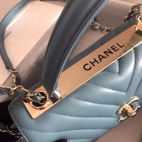 4b233e3d67ad Chanel Small Flap Bag With Top Handle 2019 A69923 Blue - Bella Vita Moda
