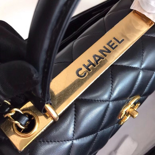 Chanel  Small Trendy CC Top Handle Bag Quilted Lambskin Black