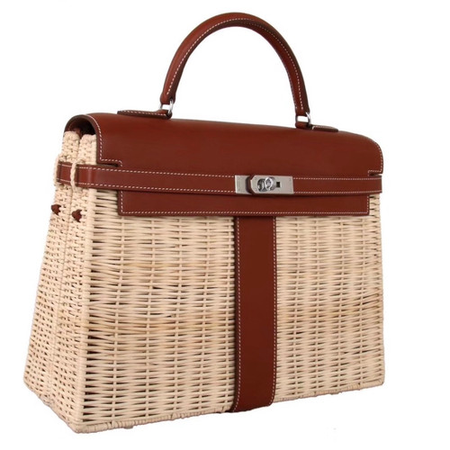 Hermes Limited Edition Gold Picnic Kelly 35 Wicker Palladium Hardware