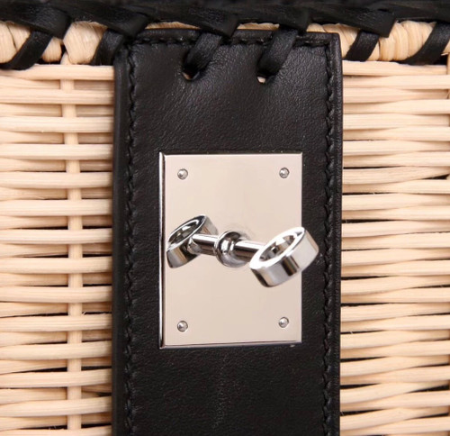 Hermes Limited Edition Black  Picnic Kelly 35 Wicker Palladium Hardware