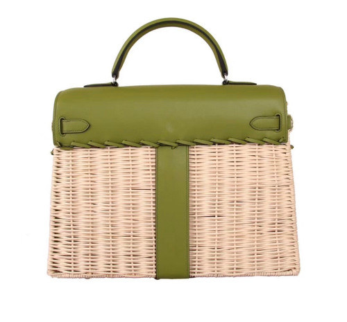 Hermes Limited Edition CK61 Green Picnic Kelly 35 Wicker Palladium Hardware