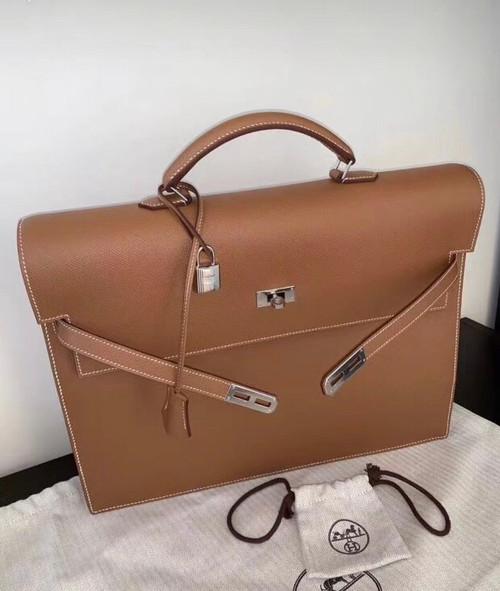 Hermes Kelly Depeche 38 Briefcase in CK37 Gold with Palladium Hardware