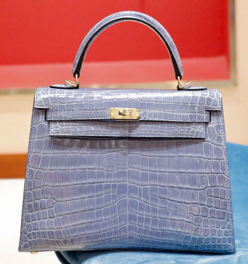 Hermes SHINY BLUE BRIGHTON NILOTICUS CROCODILE KELLY 25 WITH GOLD HARDWARE