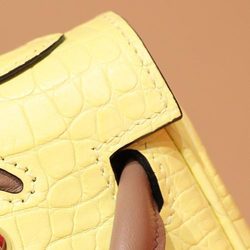 Hermes Kelly Idole (Kelly Doll) in C9 Soupre Yellow Porosus Crocodile with palladium hardware.