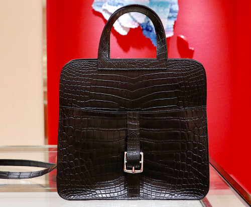 Hermes Halzan 31 cm in Black Niloticus crocodile leather