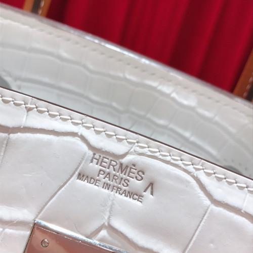 Hermes White/ Gold Birkin 30 in Porosus  Crocodile with Palladium hardware