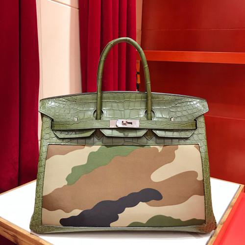 Hermes Limited Edition Crocodile Birkin Bag 35 In 67 Vert Fonce Niloticus Crocodile and  Camouflage with Palladium hardware